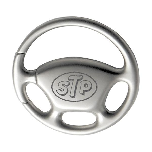 Steering Wheel Pull-n-Twist Metal Keychain