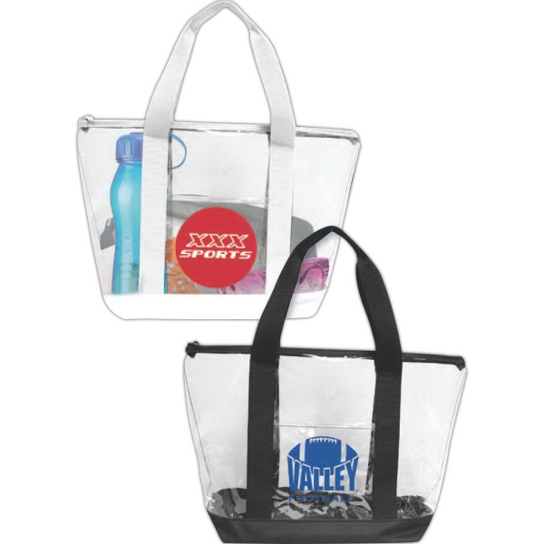 Brand Gear (TM) Durable Clear Tote Bag (TM) - Clear PVC tote bag with outside pocket.