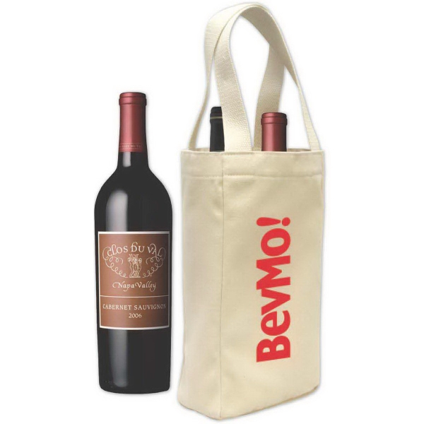 Brand Gear (TM) Dual Bottle Chateau Vineyard Wine Tote - 10 oz cotton canvas wine tote holds 2 bottles.