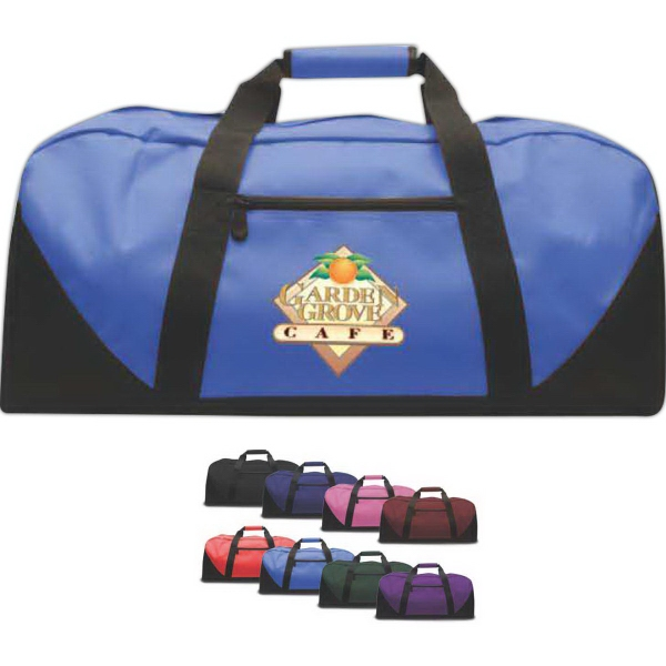 Brand Gear (TM) Daytona (TM) Duffel Bag - Duffel bag made of 600 denier polyester with a zippered side pocket, black bottom, and straps.