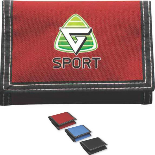 Brand Gear (TM) Deluxe Retro Wallet (TM) - Retro style, polyester, tri-fold wallet with hook and loop closure.
