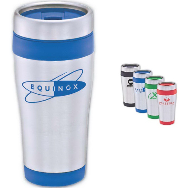 Brand Gear (TM) Pro Star Stainless Tumbler (TM) - Stainless steel outer wall tumbler with colorful accents, 16 oz.