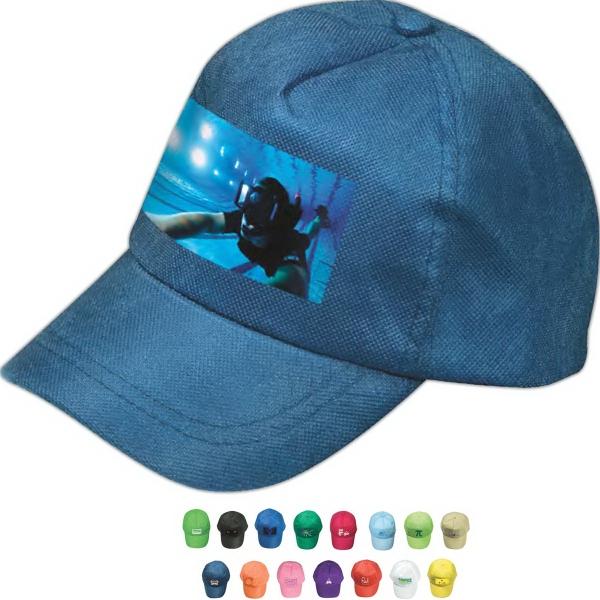 Econo Non-Woven Cap - Five-panel non-woven cap with adjustable velcro strap.