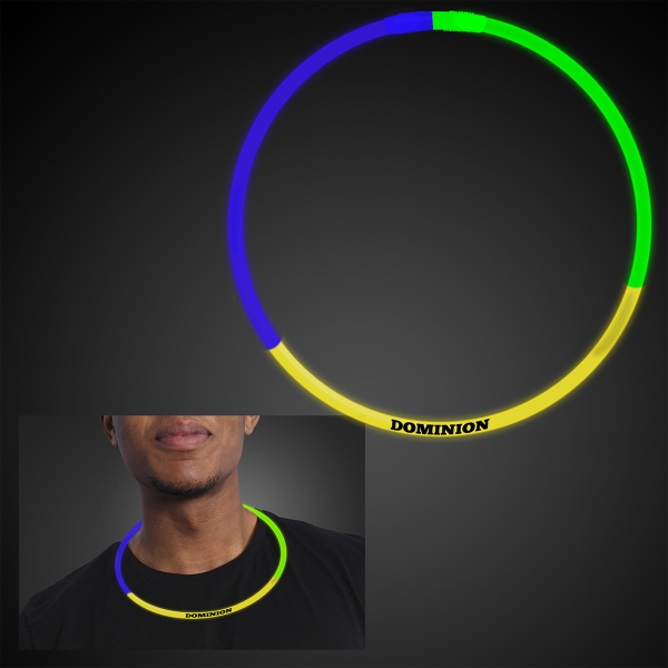 22 inch Tri Color Glow Necklaces, Blue/Green/Yellow