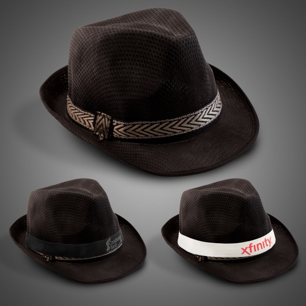 Black Funky Fedora with Imprinted Band
