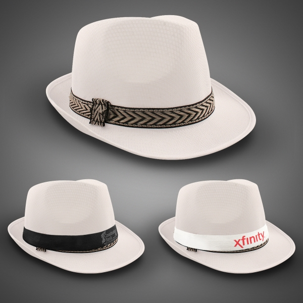 White Funky Fedora with Imprinted Band