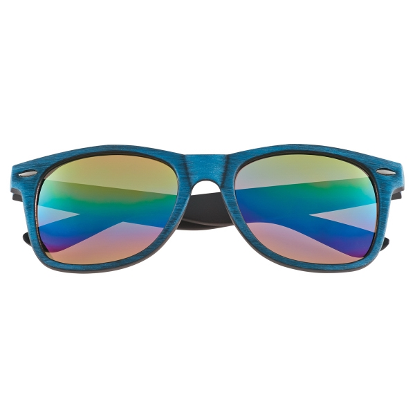 Textured Woodtone Mirrored Sunglasses