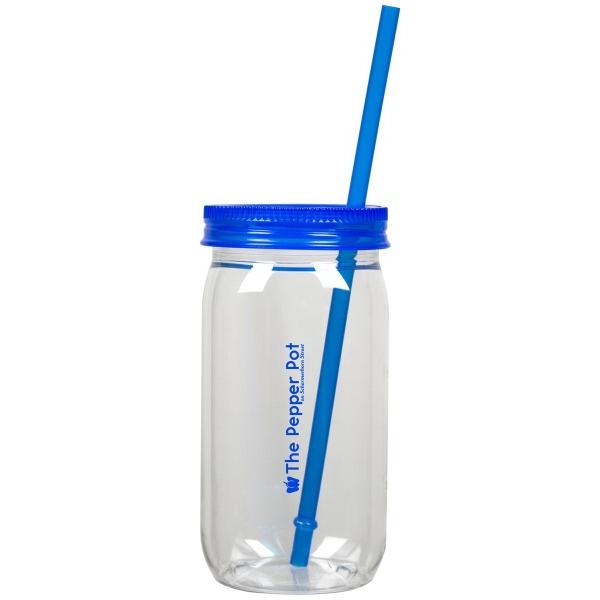 Mason jar and straw, 20 oz