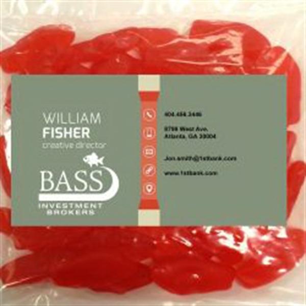 Business card magnet w large bag of swedish fish for Big bag of swedish fish