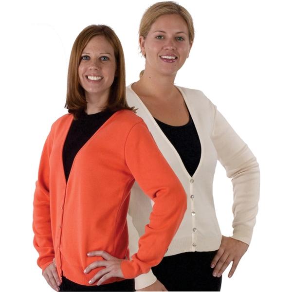 Custom Colors Women's Crew - Cardigan. Cotton. Made in USA.