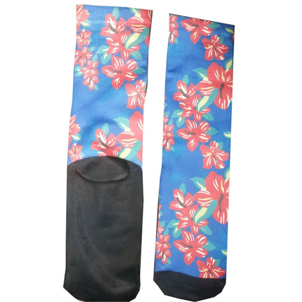Dye sublimated socks with cotton bottom