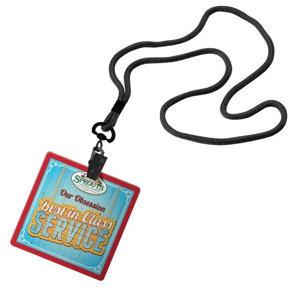 "1/8"" Cord Lanyard with 3 1/2"" W x 3 1/2"" H Plastic ID Badge"