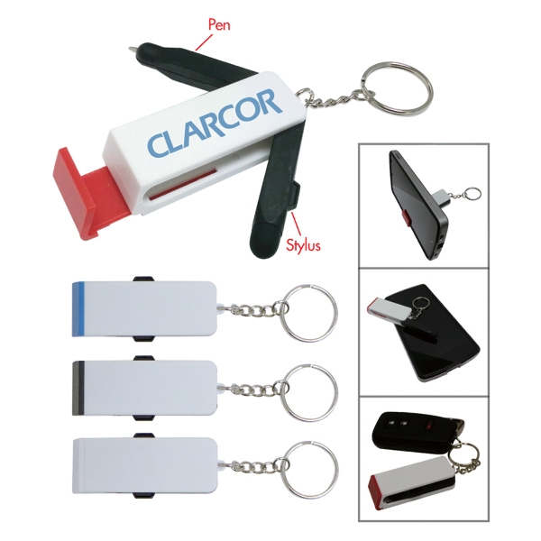 3 in 1 cell stand pen and stylus with keychain