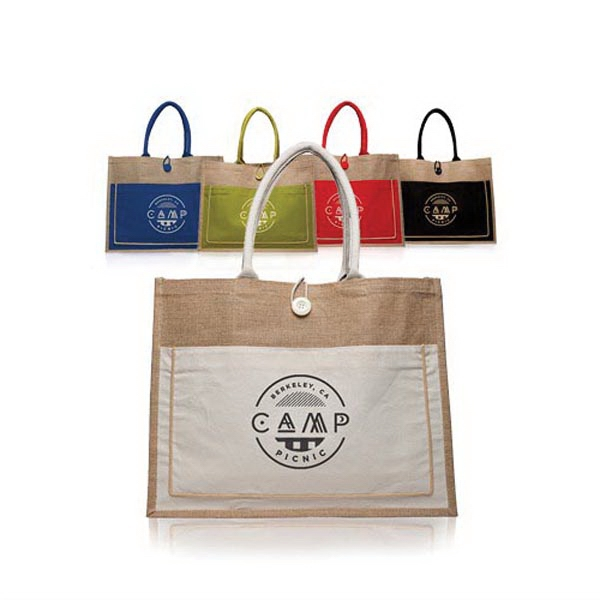 "18"" W x 14"" H Cotton Pocket Jute Bags"
