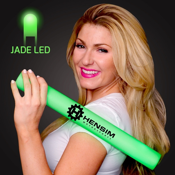 Imprinted Green Light-Up Foam Cheer Stick