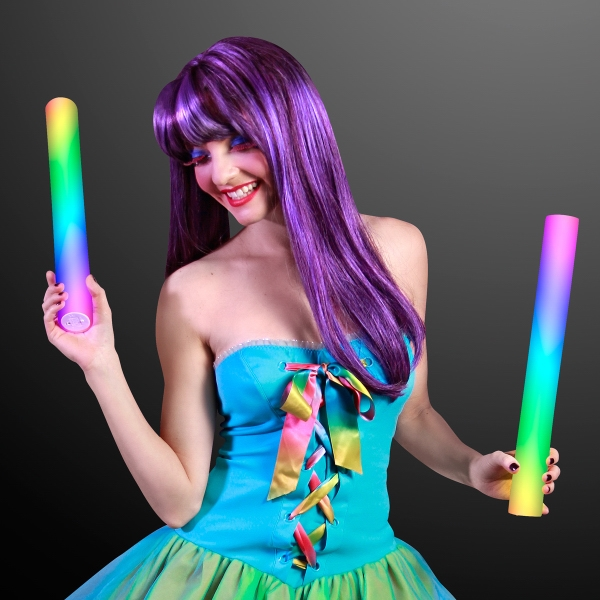 Multicolor cheer stick with color changing LEDs