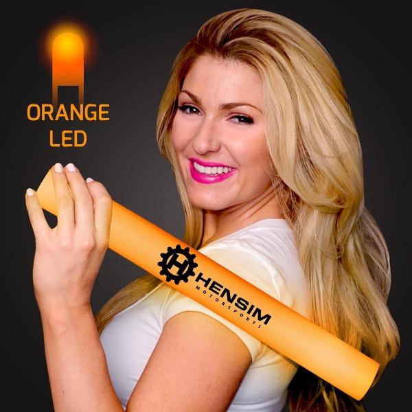 Imprinted Orange Light-Up Foam Cheer Stick