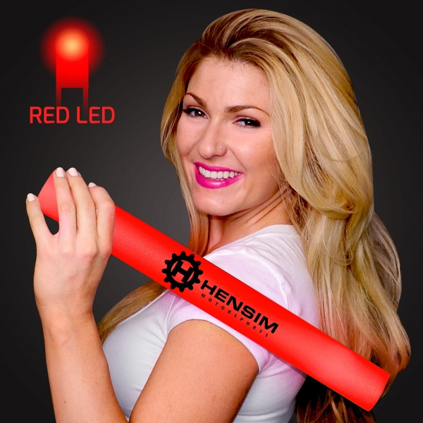 Imprinted Red Light-Up Foam Cheer Stick