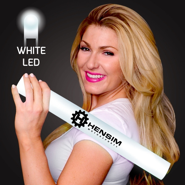 Imprinted White Light-Up Foam Cheer Stick