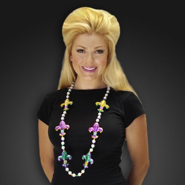 Fleur De Lis Mardi Gras bead necklaces
