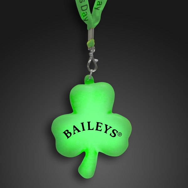 Green light-up shamrock with light-up cloth lanyard