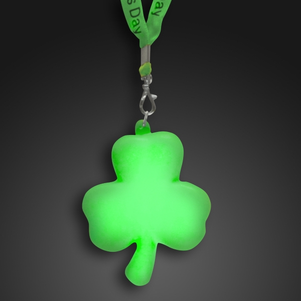Light up  shamrock with green light up cloth lanyard