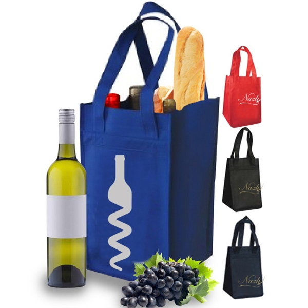 REUSABLE 4 BOTTLE ADJUSTABLE WINE TOTE