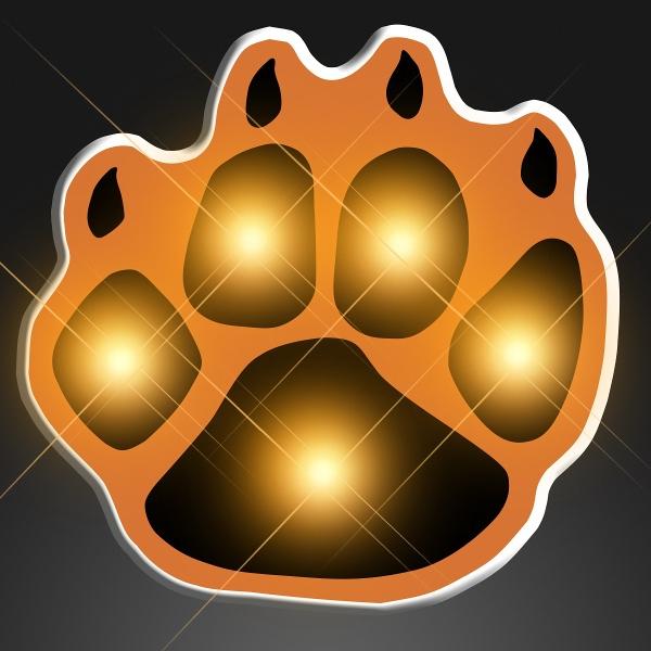 Imprinted Flashing Orange Paw Print Body Lights