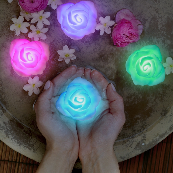 Floating Deco Roses with Color Change LEDs