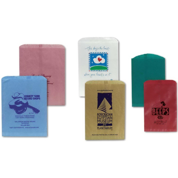 """Merchandise Bags - Colors 8 1/2"""" X 11"""" - Merchandise bags are flat paper bags with serrated tops. Available in 12 colors. 100% recyclable."""