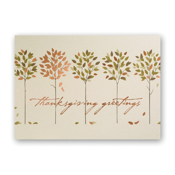 Golden Thanksgiving Trees Thanksgiving Card