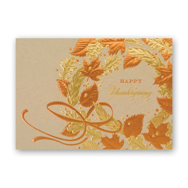 Decorated Wreath Thanksgiving Card