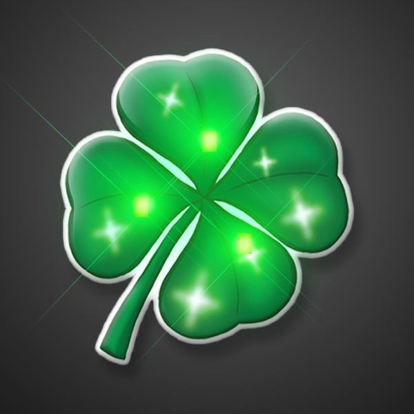 St. Patrick's Day flashing pin (4 leaf clover)