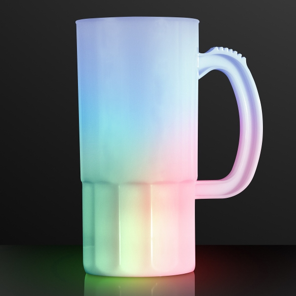 Tall frosted beer stein with multicolor LEDs