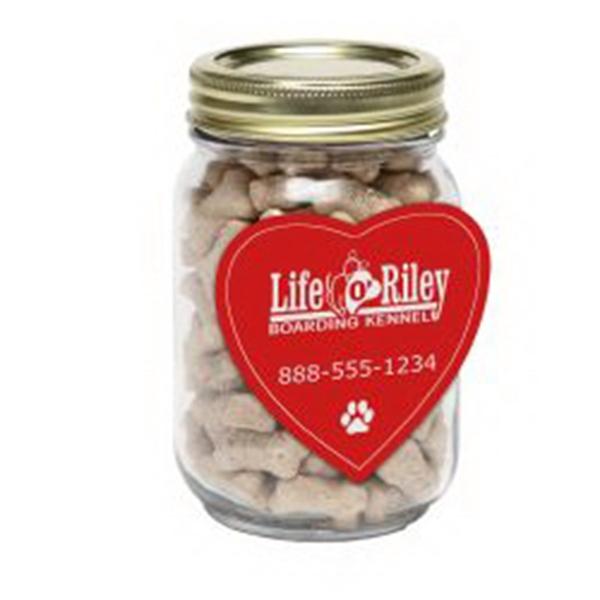 Mini Dog Bones in Pint Jar w/Heart Magnet