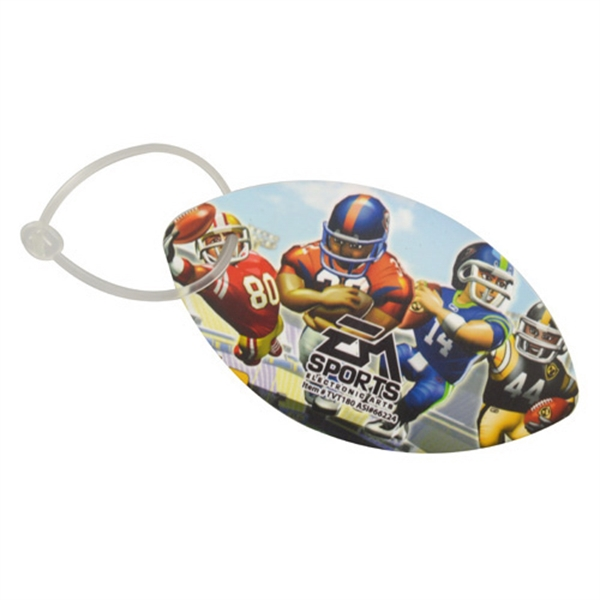 Football shaped luggage tag