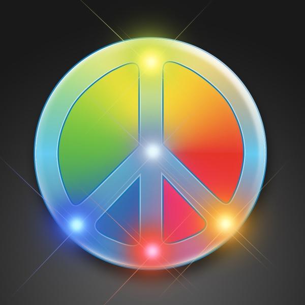 Flashing Rainbow Peace Sign Blinkies on Lanyard