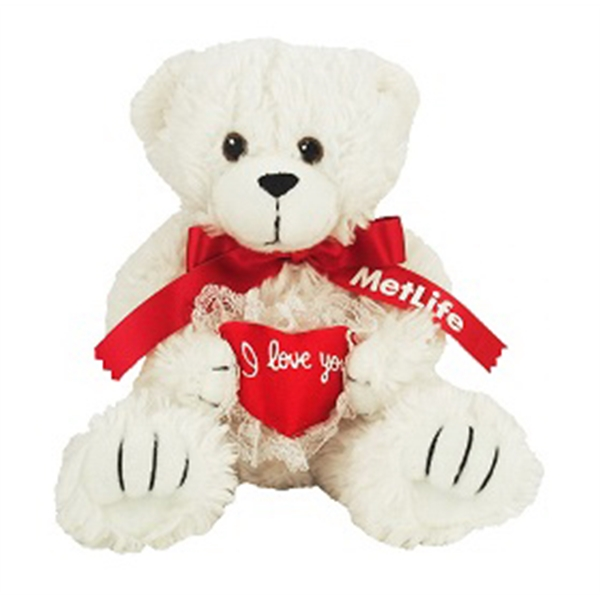 "8"" I Love You Bear with ribbon and one color imprint"