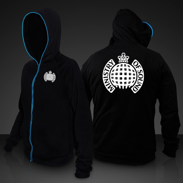 Light Up EL Hoodies, Blue Lights - 10 Day