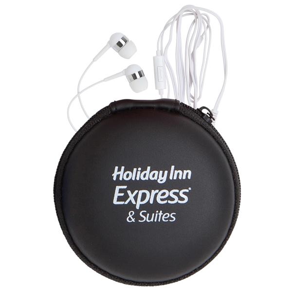 Round EVA Case w/ Microphone Earphones