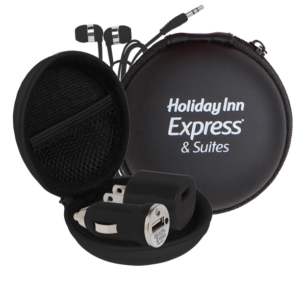Audio On The Go Tech Kit in Round Zippered EVA Case