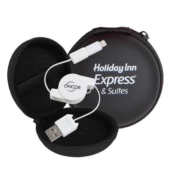 Retractable Cable w/MFI Adapter in Round Zipper Case