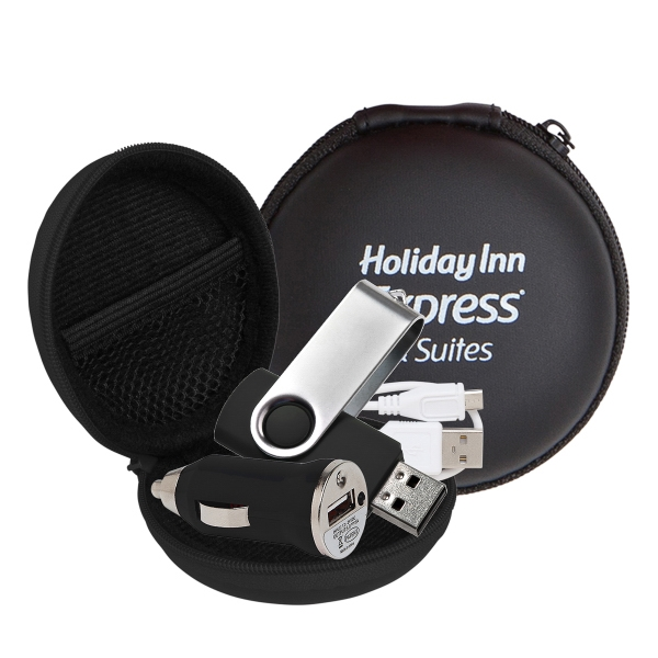 Store N Charge Tech Set in Round Zipper Case