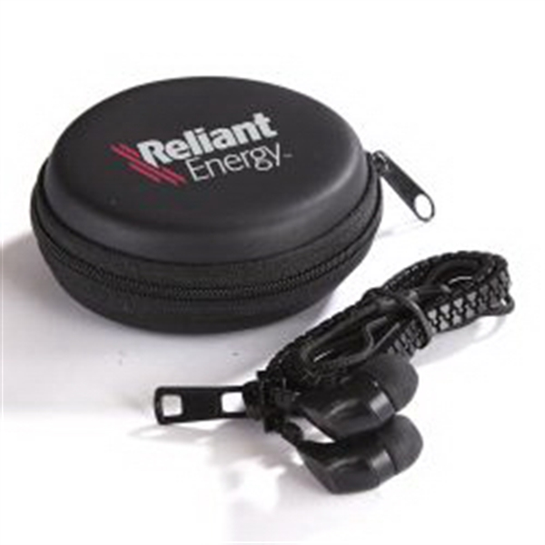 Zipper Ear Buds Kit - Black