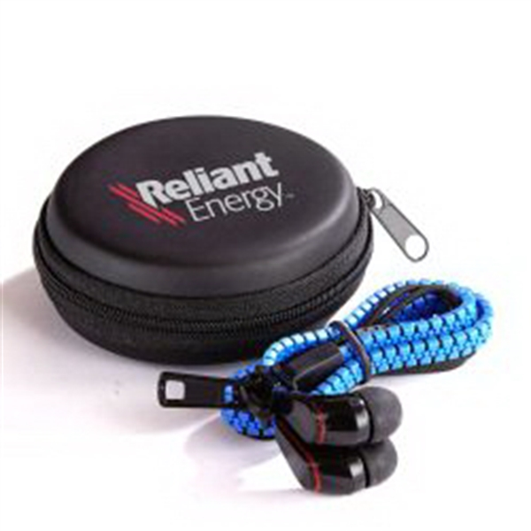 Zipper Ear Buds Kit - Blue