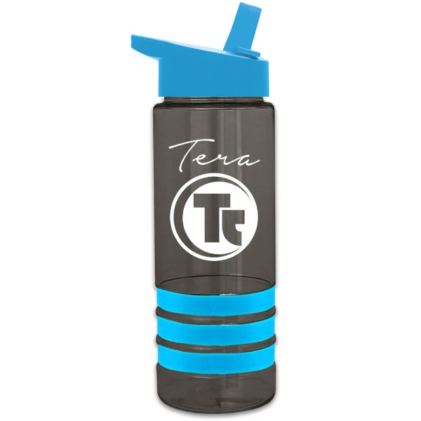 Sergeant-2 Stripe 24 oz Tritan (TM) Bottle with Grip Stripes - 24 oz Wide mouth Tritan Stripe Bottle With flip straw lid and grips