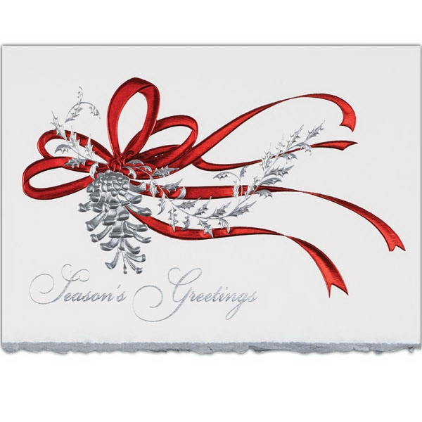 Red Ribbon Greeting Card - Deckled edge, greeting card with red ribbon on the front.