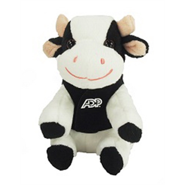 "6"" Lil' Cow with vest and one color imprint"