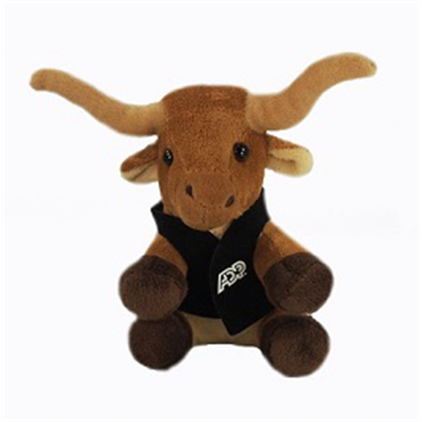 "6"" Lil' Longhorn Bull with vest and one color imprint"