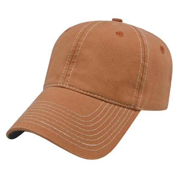 Contrasting Stitching Garment Washed Cap